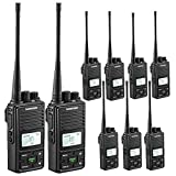 SAMCOM Two Way Radio 2 Watts Programmable UHF Handheld Walkie Talkie Long Range 20CH Double PTT LCD Display Earpieces, 9 Packs