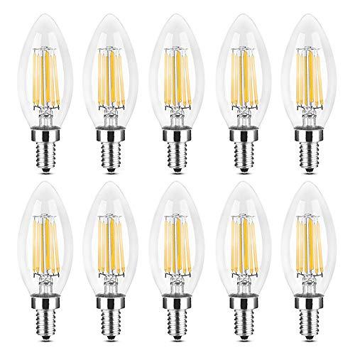 YQXR led bombillas Lámpara LED tipo vela, E14 6W Reemplazo equivalente Lámpara halógena de 60W CA 220-240V Luz LED COB vintage Adecuado para pub, exposición, uso en oficinas o en el hogar, etc.