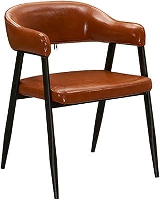 PU Leather Dining Chairs,Western Restaurant Milk Tea Dessert Shop Backrest Negotiation Office Chair Wrought Iron Lounge Chair (Color : Crimson)