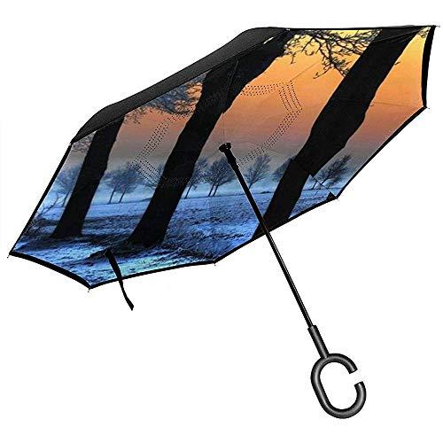 Little Yi Neue Tapete voller 1920X1080 .Wiki umgekehrter Regenschirm, großer im Freienregen Sun Anti-Uv Auto-umschaltbarer Regenschirm mit C-förmigem