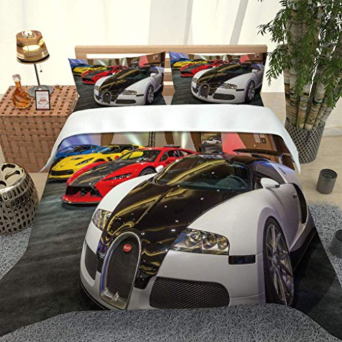 PKTMK Bedding Duvet Cover with 2 Pillowcases Printed Supercar pattern Quilt Cover Set with Zipper Closure Anti-allergic Bedding For Kids adult Double 200x200cm