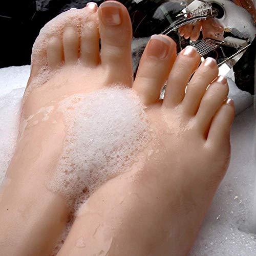LYZ-lovem 1 Paio Silicone Piede, Feticismo del Piede - Gioco di Piedi di masturbazione -Giocattolo del Piede -Modello del Piede della Ragazza Hobby della Caviglia - Piede di Modello,onepair