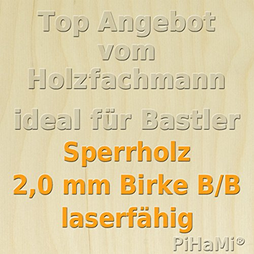 PiHaMi® Flugzeugsperrholz Birke Qualität B/B laserfähig 490 mm x 290 mm x 2 mm GP 57,64 €/m²