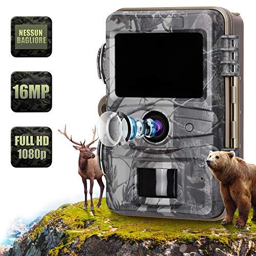 AGM - Cámara de Caza 16 MP 1080P Cámara de Fotos por Infrarrojos HD IR Visión Nocturna LCD Pantalla IP66, Negro