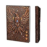 YHH A5 Vintage Leather Travel Journal, Notebook Lined Ruled, Hardback Diary Embossed Writing Notepad 200 Pages...