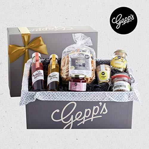 Gepp's Feinkost Genuss Geschenkbox | Geschenkkorb gefüllt mit köstlichen Delikatessen, hergestellt nach eigener Rezeptur | Köstliches Gourmet-Geschenk für Frauen