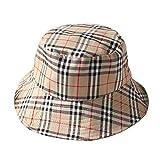 VIVICMW Flat Top Breathable Cotton Hat Unisex Plaid Bordered Summer Cap Outdoor Fishing Hunting Bucket Hat (Khaki)