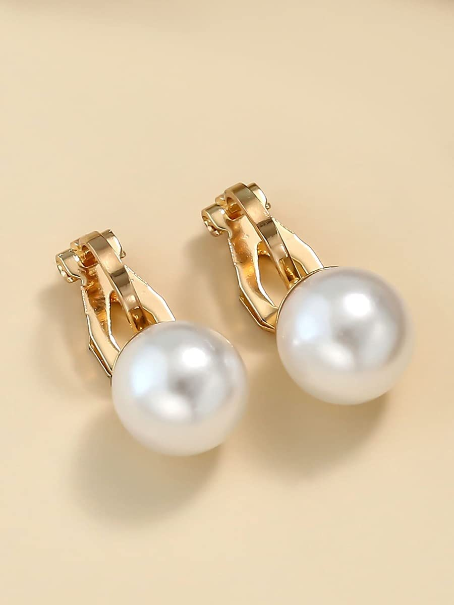 LCUY Hoop Earrings 2pcs Faux Pearl Decor Ear Cuff (Color : Gold)
