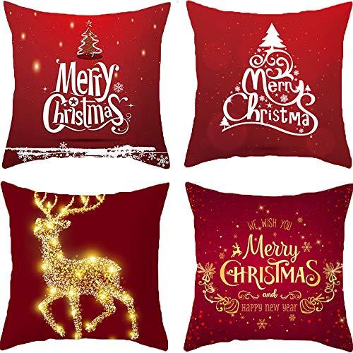 HIQE-FL 4 Piezas Fundas Navideñas para Cojines,Navidad Reno,Funda de...