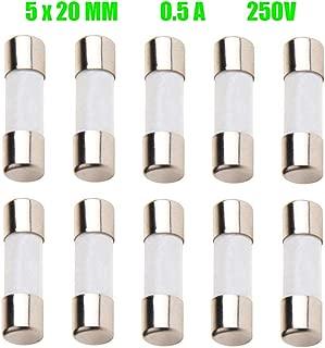 ZUPAYIPA Pack of 10 pcs 500mA F0.5AL Fast-Blow Fuse 0.5A 0.5amp 250V Ceramic Fuses 0.2 x 0.79 inch / 5 x 20 mm (F0.5A Ceramic)