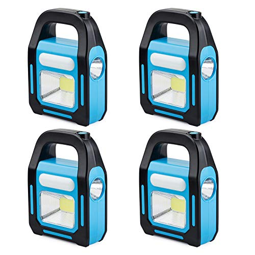 4 Pack 3 IN 1 Solar USB Rechargeable Brightest COB LED Camping Lantern, Charging for Device, Waterproof Emergency Flashlight LED Light