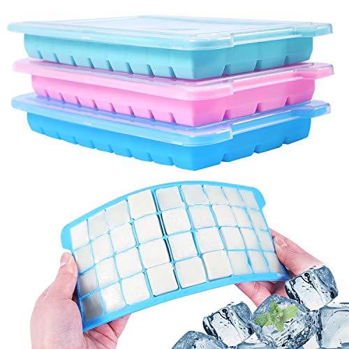 Wanap 3 stuks ijsblokjesvorm siliconen, 36-vaks ijsblokjeshouder om in te vriezen, 108 ijsblokjes voor koelkast, magnetron, oven. Set van 3 voor ijsblokjes, chocolade, kindervoeding etc - met deksel