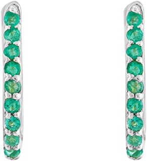 Gehna 18KT White Gold, Emerald and Hoop Earrings for Women