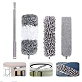 Gap Dust Brush,Microfiber Duster Kit with Extension Pole(30-100 inches),Removable and Washable Fiber Brush Hand Dust Collector for Under Furniture Couch,Gap, Blind, Home,Bedroom,Kitchen, Cars (1 pack)