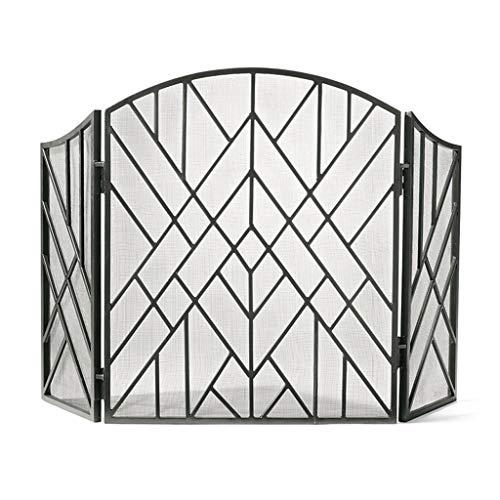 Salvachispas plegable Chimenea interior Pantalla 3 Panel de estaño de hierro forjado pantalla grande de metal decorativo exterior de malla cubierta sólida prueba de Baby Safe Chimenea Valla diseño de