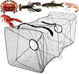 AFXOBO Folding Fish Trap, Portable Folded Fishing Net Cast Mesh Landing Bait Net for Crab Shrimp Crawfish Catfish Trap Crab Fish Trap Fishing Accessories