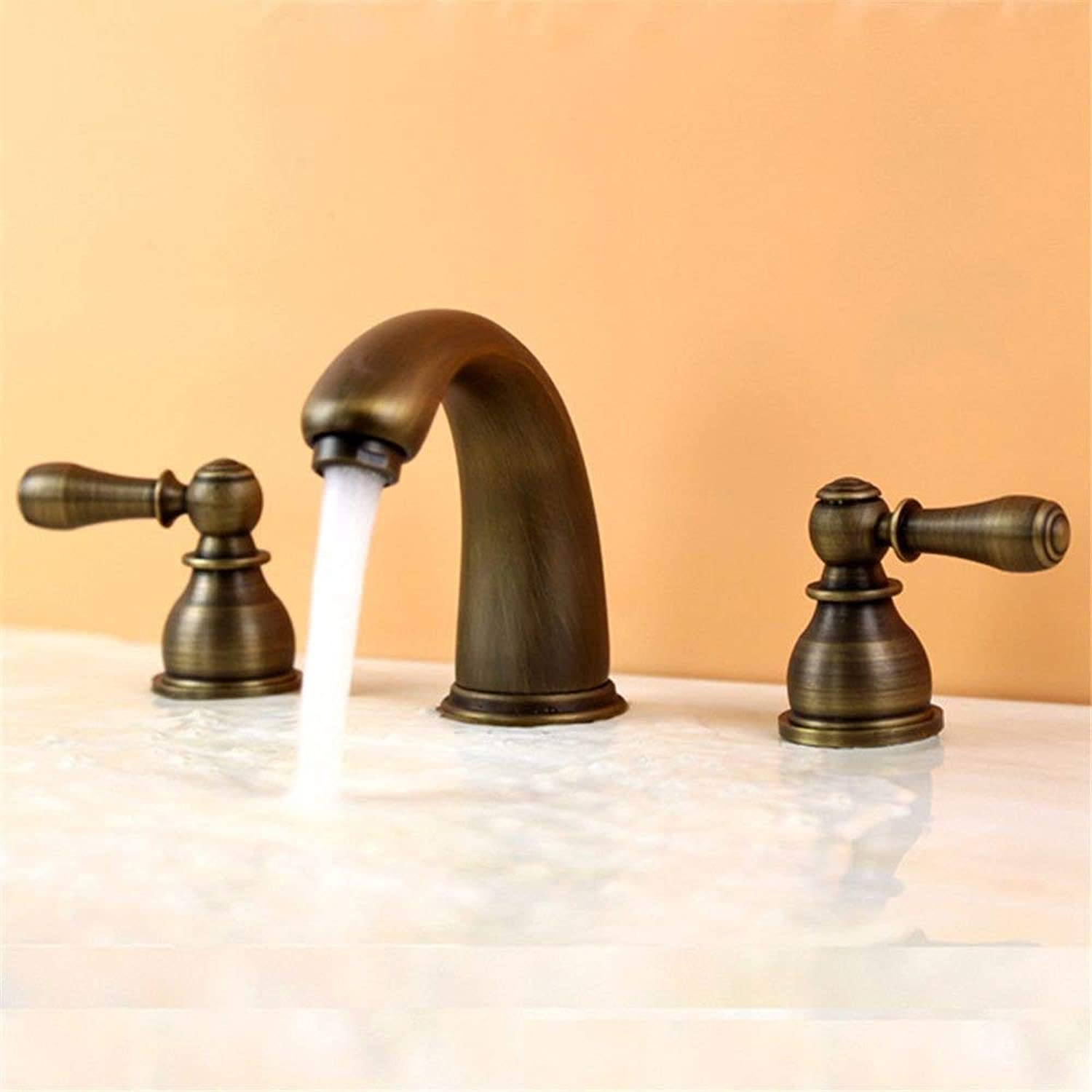 DOJOF Bathroom Sink Mixer Tap Retro Antique Brass Hot and Cold Water Taps for Bathroom Sink