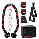 SIGOODS Tricep Rope Cable Machine Attachment Set, 35 Inches Heavy Duty Tricep Pull Down Rope with 2...