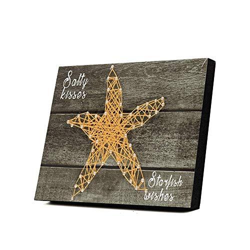 DIY Nail String Art Kit - 3D Drawing Nails Winding Lines Painting Home Decor Starfish Pattern