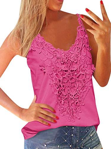ZANZEA Mujer Camisetas Sin Mangas Verano Talla Grande Sexy Encaje Cami Top Tirantes Cuello V Blusas Vest 01-Rosa XL