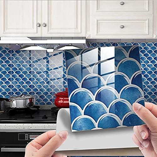 Azulejos Adhesivos Baño Cocina Azul Real 24 Vinilos Cocina Azulejos Vinilos Para Baños Losetas Vinilo para Paredes Suelo Vinilo Autoadhesivo para Cocina