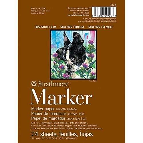 Strathmore 497-6 400 Series Marker Pad, Glue Bound, 6'x8', 24 Sheets
