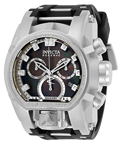 Invicta Men's Reserve 52mm Bolt Zeus Magnum 0.43ctw Diamond Swiss Chronograph Movement Black Mother of Pearl Dial Watch