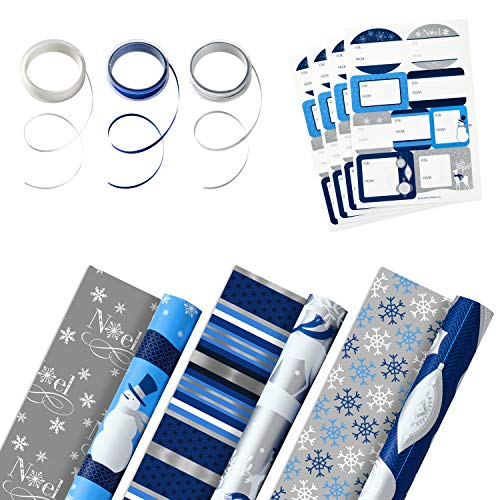 Hallmark Reversible Holiday Wrapping Paper Set (3 Rolls of Wrapping Paper with Ribbon and Gift Tag Stickers) Blue and Silver Snowmen, Stripes, Reindeer, Noel