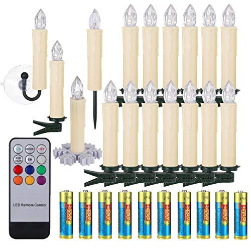 40er LED Weihnachtskerzen RGB mit Batterien Fernbedienung Timer, IP64 wasserdichte LED Lichterkette mit verschiedener Halterungen Set für Auß-Innen Weihnachtsbaum Hochzeit Party Deko (Beige 40x)