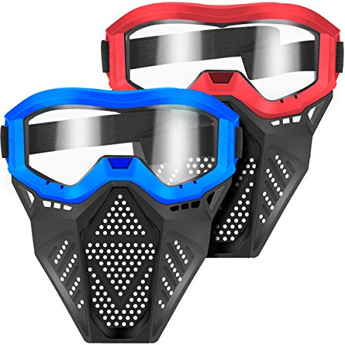 POKONBOY 2 Pack Tactical Mask with Goggles Compatible with Nerf Rival , Apollo, Zeus, Khaos, Atlas, & Artemis Blasters Rival Mask Red & Blue