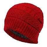 DABENXIONG Cappello A Maglia all'Uncinetto da Donna in Pile Foderato Caldo Termico Inverno Beanie Cappello Casual da Sci Cranio Tappo per Donne E Uomo (Color : Red)
