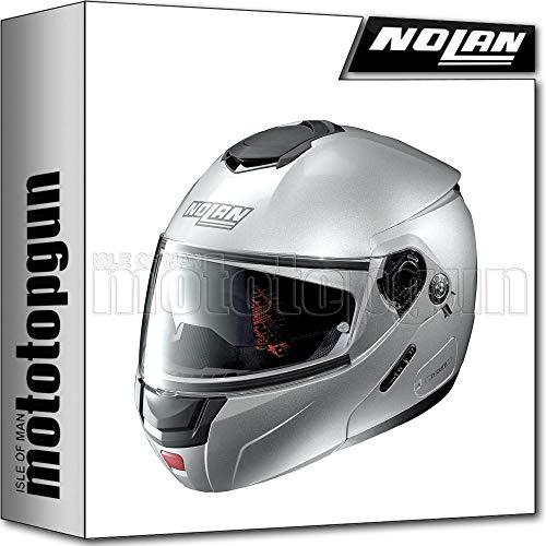 MOTOTOPGUN Nolan - Casco de moto modular N90-2 Special Salt, plata 011, talla L