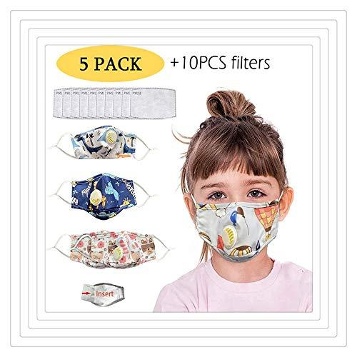 Waschbarer wiederverwendbarer staubdichter Mundschutz für Kinder Mundschutz 5er Pack (Multicolor)