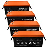 4 PCS 12V 200Ah LiFePO4 Deep Cycle Battery, Built-in 200A BMS, 2000-5000 Cycles, Each battery Can Support 2560W Power Output, Perfect for RV, Caravan, Solar, Marine, Home Storage and Off-Grid