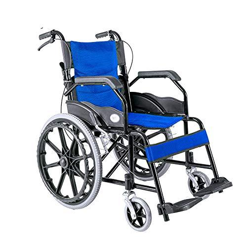 MARXIAO Kleiner Tragbarer Reise-Rollstuhl, Leichtklapp Carbon Steel Inflatable Manueller Rollstuhl,Blau