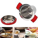Eulbevoli Filtro da tè, Rete a Maglia fine per teiere per Tazza(Red Silicone Stainless Steel Tea Drain)