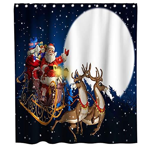 Final Friday Merry Christmas Duschvorhänge, Weihnachtsmann, Rentier, Schlitten, Mond, Nacht, Stoff, Badezimmerdekor-Set mit Haken, wasserdicht, waschbar, 178 x 177,8 cm, Weiß, Blau & Rot