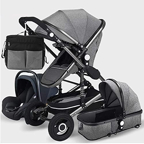 Cochecito de cochecito de bebé para niños pequeños, 3 en 1 Sistema de viaje con un organizador universal de cochecito, cochecito de cochecito reversible Todo terreno - Alto paisaje y cesta de sueñado