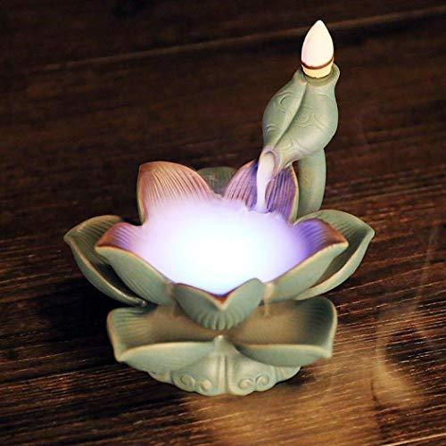 Bruciatore di incenso a flusso inverso, in ceramica, a LED, con 10 coni di incenso, motivo: fior di loto luminoso, decorazione per la casa, idea regalo, colore: verde