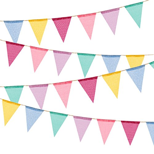 BEFORYOU 60 Flags Imitated Burlap Pennant Banner - Multicolor Fabric Triangle Flag Bunting for Summer Party and Festival Hanging Decoration