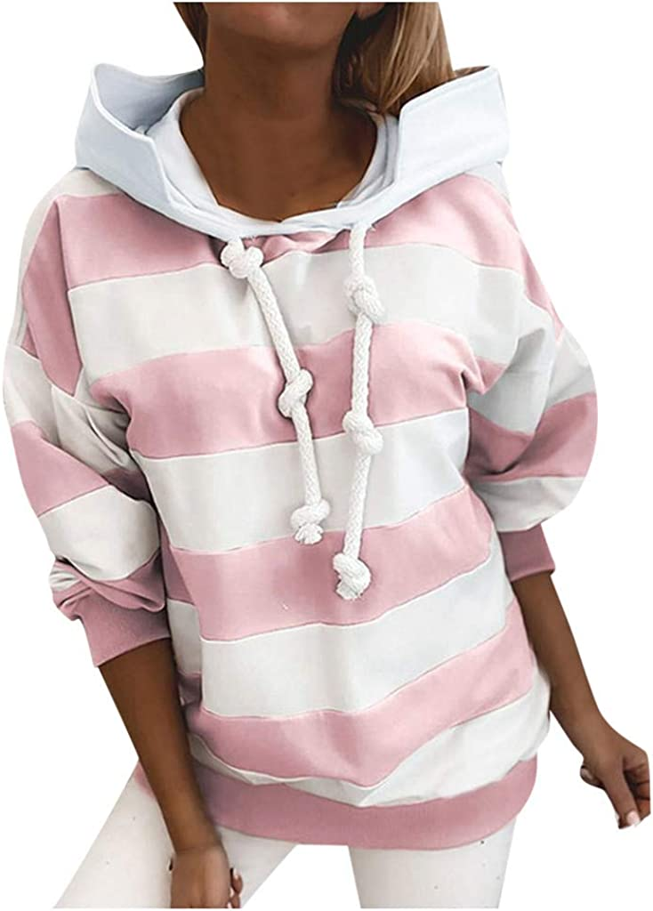 Women Stripe Spot Hooded Printed Sweatshirt Long Sleeve Casual Pullover Soft Cozy Blouse Slouchy Top Loose T-Shirt Pink