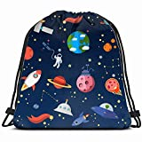 Galaxy Planets Other elementselement Drawstring Backpack Bag Gym Sack Sport Beach Daypack for Girls Men & Women Teen Dance Bag Cycling Hiking Team Training 17X14 inch
