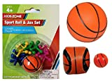 Basketball Themed Activity & Game 4 Piece Bundle Includes: Sport Ball and Jax Set, Foam Basketball, Hacky Sack, and Mini Bounce