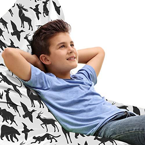 ABAKUHAUS Wild jagen Unicorn Toy Bag Lounger Stuhl, Wilder Eber-Enten-Gans, Hochleistungskuscheltieraufbewahrung mit Griff, Dunkelgrau Weiß