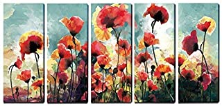 3Hdeko - Flower Wall Art Poppies Painting Red Floral Pictures Wall Decor for Living Room Bedroom Office, Extra Large 5 Pieces Canvas Prints, Ready to Hang (12x30inchx5pcs)