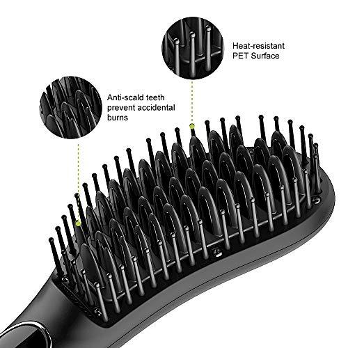 Professional 2 in 1 Hair Straightening Brush, Anti-scald Ceramic Hot Comb,Temperature Lock & Auto-off,Black