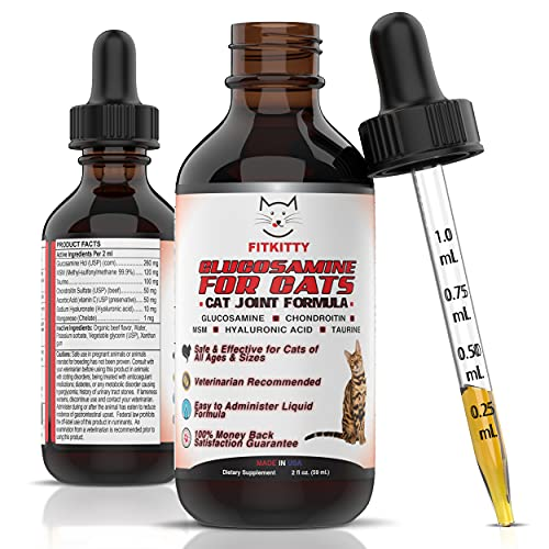 FitKitty Glucosamine for Cats 100% Natural Hip and Joint Liquid 260mg Glucosamine Supplement with Chondroitin, MSM, & Hyaluronic Acid - Improve Joint Flexibility, Pain Relief, Inflammation, Arthritis