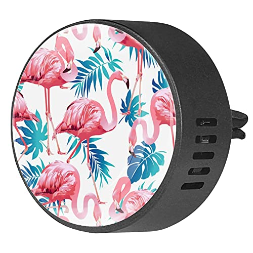 2 Pack Office Home Car Air Freshener Blue Summer Tropical Palm Leaves With Exotic Flamingo Aromatherapy Essential Oil Diffuser Locket Clip