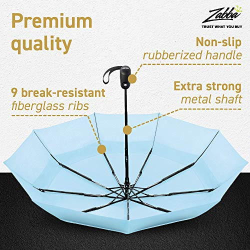 EEZ-Y Compact Travel Umbrella w Windproof Double Canopy Construction - Auto Open Close Button for One Handed Operation - Sturdy Portable and Lightweight for Easy Carry Light Blue