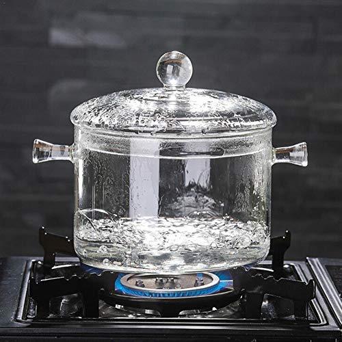 KIODS Pentola Zuppa di Vetro in Vetro borosilicato Resistente al Calore Pentola per zuppa Pentola per zuppa Trasparente Cottura ad Acqua Noodles istantanei Porridge Stufa Pentola
